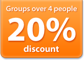 20% discount for groups over 4 people